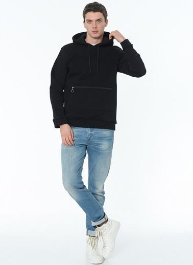 Dewberry Kapüşonlu Cepli Pamuklu Erkek Sweatshirt Siyah